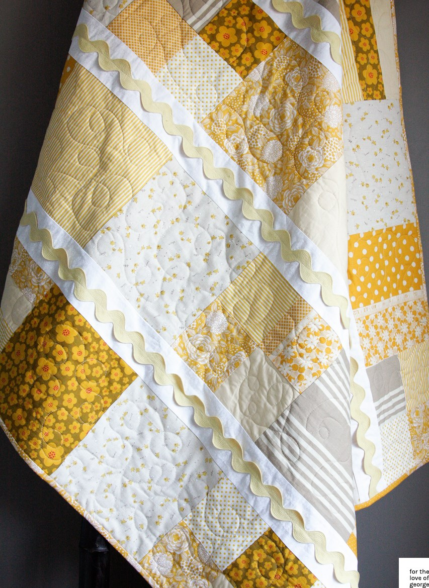 Yellow, mustard and linen little chickens quilt on For the Love of George