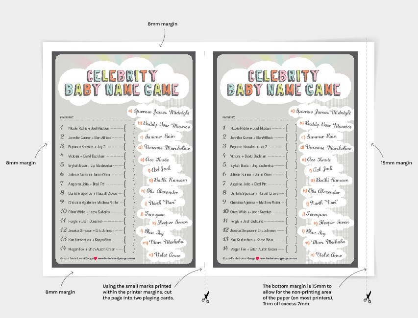 Celebrity Baby Name Game free download cutting instructions on For the Love of George