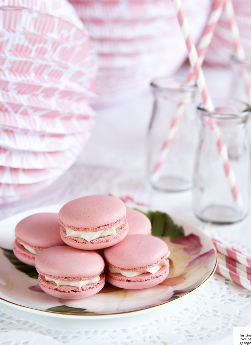Pink macarons on For the Love of George