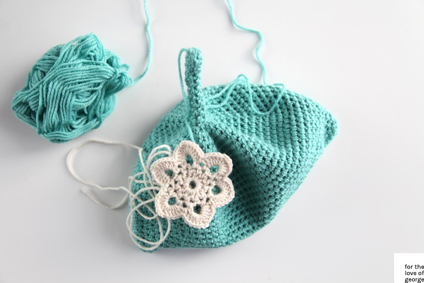 For the Love of George - Aqua baby beanie in progress, from Paton's Retro Babes pattern book.