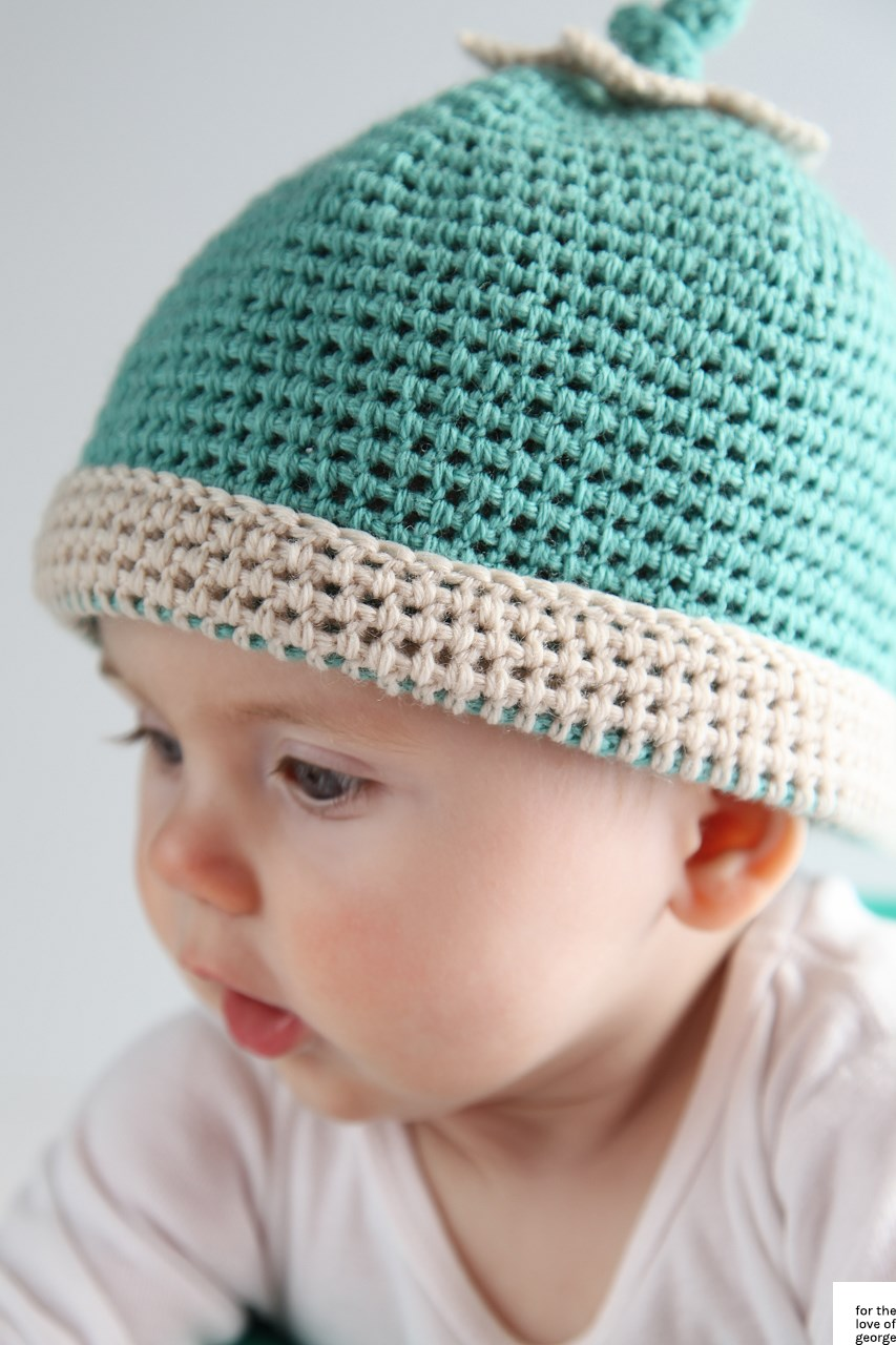 Crochet aqua baby beanie on For the Love of George