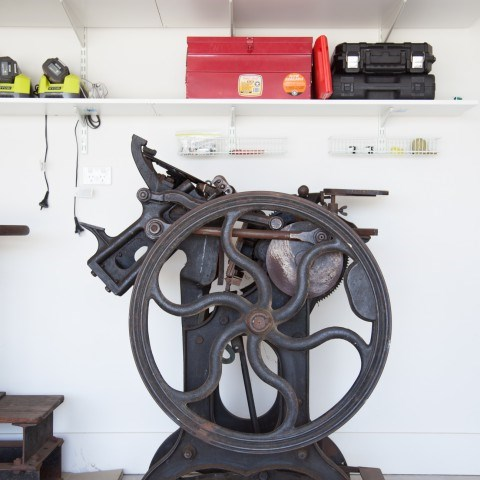 The letterpress arrives — let the cleaning commence! — on For the Love of George