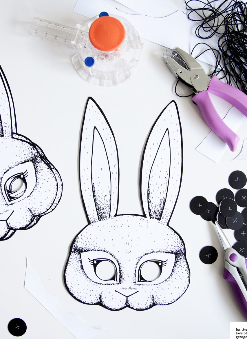 Bunny Mask printable available as a free download from For the Love of George