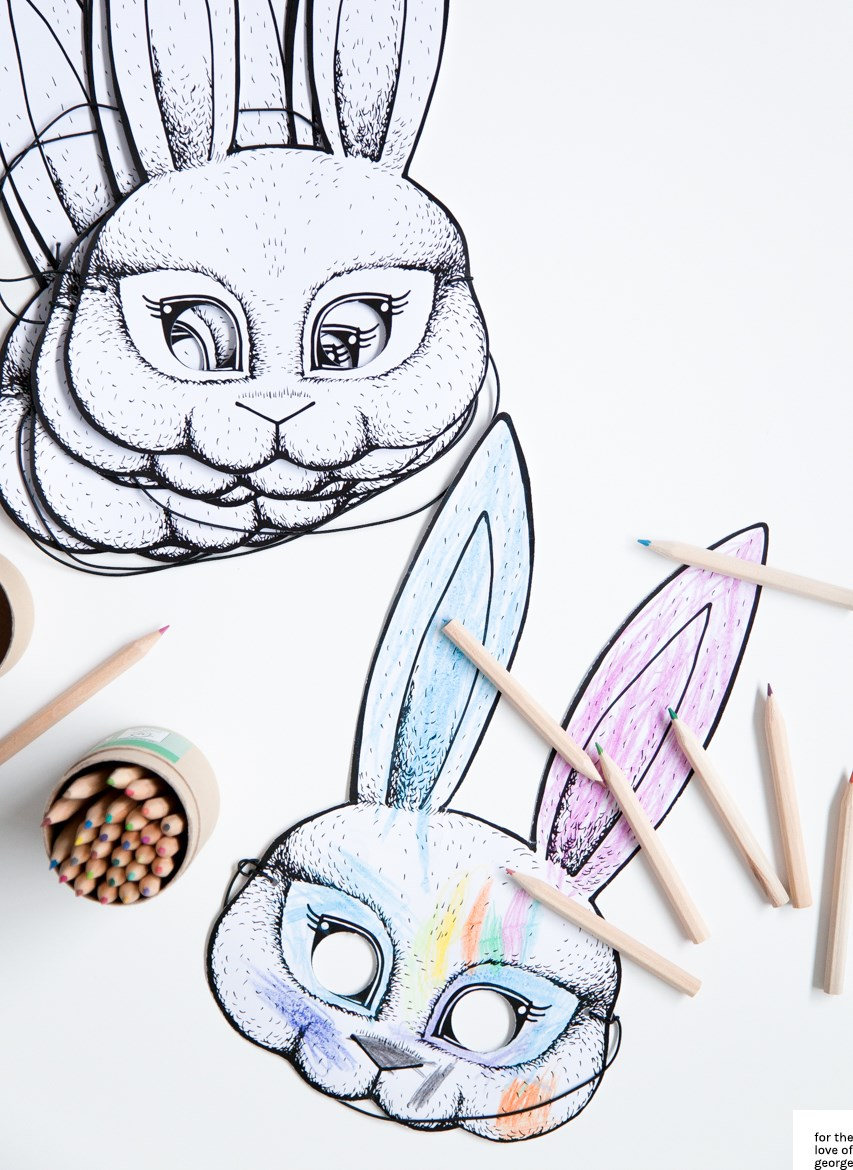Free printable kids Bunny Mask download on For the Love of George