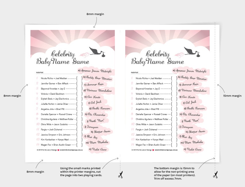 Cutting instructions for the pink 'Celebrity Baby Name Game' by For the Love of George
